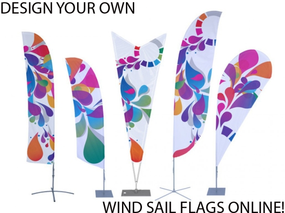 These Custom, Brightly Colored Dye-Implemented Sail Banners are an ideal alternative to regular banners and flags, as these banners last longer and are easy to reposition either indoors or outdoors